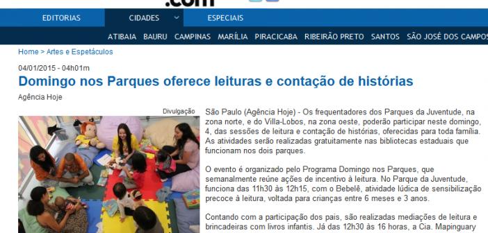Domingo nos Parques oferece leituras e contação de histórias - Hoje São Paulo 2015-01-13 16-56-42