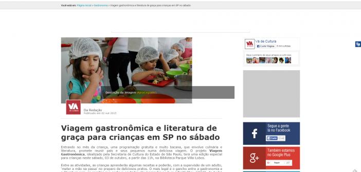 Viagem gastronômica e literatura de graça para crianças em SP no sábado   Vá de Cultura